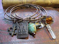 Vintage Charm Bangle Bracelets