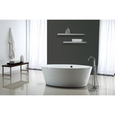 Shop OVE Decors Betsy Gloss White Acrylic Oval Freestanding Bathtub with Reversible Drain (Common: 44-in x 67-in; Actual: 23.5-in x 43.5-in x 67-in) at Lowes.com