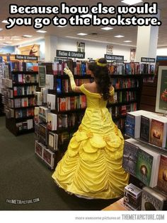 Very cute, but wouldn't Belle be wearing the blue and white dress? Still, she gets +10 Agility for maneuvering a hoop skirt in those narrow aisles. (The Meta Picture via Steampunk)