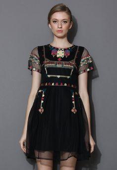 $80 Black Tribal Tale Stitch Embroidered Dress