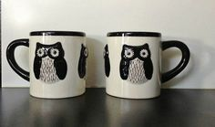 Pair of black & white OWL MUGS by Kate Williams for Global Design Connections $20 on Ebay.