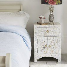 Classic Mother Of Pearl Inlay Side Table In White Headboard