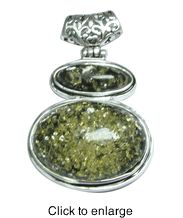 """Siluxe silver tone simulated double green Amber pendant. Designed with 2 pieces of oval shaped simulated green colored Amber stones. Pendant is 1"""" wide by 2"""" long. This item is fine silver plated.  Suggested Retail Price: $16.80  Blow Out Wholesale Price: $5.60"""