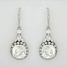 Haute Bride Hollywood Glam collection crystal bridal earrings. Sparkling vintage wedding earring styles in Swarovski crystals.  Haute Bride Jewelry at Perfect Details