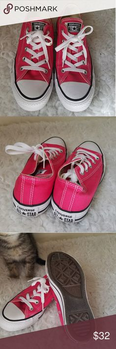 Pink Converse Pair of pink Converse that have only been worn once, these babies are brand spankin' new!  More pictures available, contact before buying.   BUNDLE & SAVE!!! No offers, swaps, returns, refunds, or meet ups. ALL SALES FINAL :) Please read shop policies ♥  #pink #converse #pinkconverse #shoes #sneakers Converse Shoes Sneakers