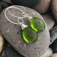 Min Favorit Peridot Green Hydroquartz Briolette & Silver Artisan Wrap Earrings  #minfavorit #DropDangle