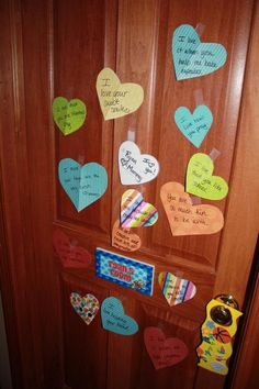 Heart Attack your child's door ~ Every year starting on Feb 1st they wake up to a new heart on their door that says something I love about them.  By Valentine's Day they have 14 reasons and their gift is waiting when they wake up  #hahahaha8888