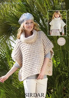 free knitted ponchos for women | ... Big Softie Super Chunky Girl's & Women's Poncho Knitting Pattern 9605