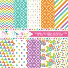 Purple Blue Green Orange Digital Paper Pack – Erin Bradley/Ink Obsession Designs