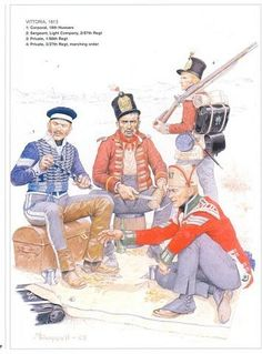 British; Irish Regiments at Vittoria 1813. L to R Corporal 18th Hussars, Private 1/88th, Sergeant Light Company 2/87th & Private 3/27th in marching order.