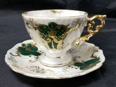 Royal Sealy China: Cup & Saucer, Green, Gold, White, Footed Tea Cup, Gold Trim | Antiques, Decorative Arts, Ceramics & Porcelain | eBay!