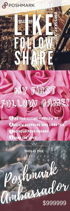 My First Follow Game 💕 Hi All 💕  I became a Post Ambassador over the holiday weekend and wanted to do a follow game to celebrate. I would love for you all to help me boost my follow count 💕  If you share this post, I will share 5 of your items!  Thank you in advance for participating. If you have any advice for me or others please feel free to share below.  Happy Poshing! Follow Game Other