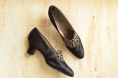 Vintage 1920's Black Silk Pumps with Metal Bead Embroidered Buckles by GracedVestige on Etsy