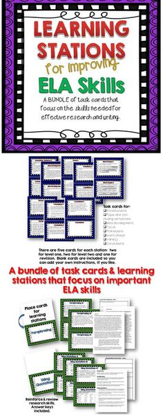 A bundle of task cards/learning stations that focus on writing and research skills.