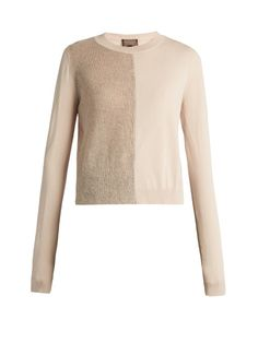 GIAMBATTISTA VALLI Mohair And Wool-Blend Contrast-Knit Sweater. #giambattistavalli #cloth #sweater