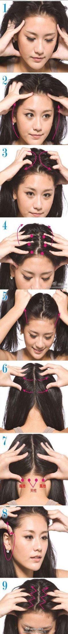 A massagem capilar estimula o crescimento dos cabelos, revitaliza os fios, relaxa toda a região da cabeça e melhora a circulação sanguínea, facilitando o transporte de nutrientes e oxigênio para o folículo piloso.