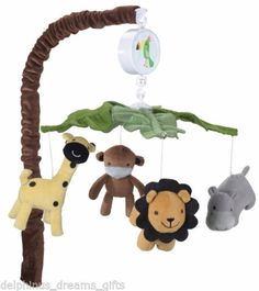 Peek A Boo Jungle Musical Cot Mobile Plays Brahms Lullaby Plush Animals