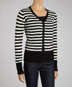 Take a look at this Black & White Stripe Cardigan by Boulevard Apparel on #zulily today!