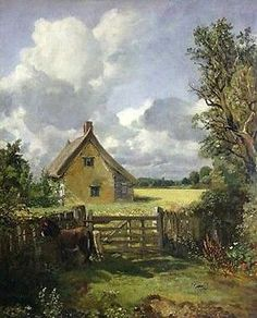 Art Oil painting john-constable-cottage-in-a-cornfield landscape canvas