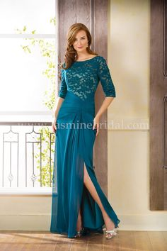 Jasmine Bridal this looks good in solid same all thru top. Party Gowns, Wedding Party Dresses, Bridal Dresses, Formal Dress Stores, Formal Dresses, Tulle Gown, Chiffon Dress, Half Sleeve Dresses, Long Gown With Sleeves