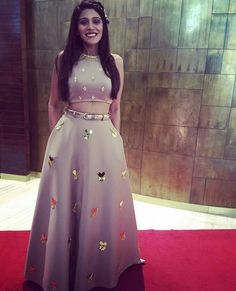 elegant 2 pieces grey prom party dresses, special formal evening gowns with beaded Floral Prom Dresses, Indian Gowns Dresses, Prom Party Dresses, Evening Dresses, Indian Wedding Party Dresses, Formal Evening Gowns, Beaded Prom Dress, Evening Party, Long Dresses