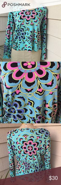 Averardo Bessi medium Aqua purple pink Silk top Averardo Bessi Italy Aqua purple pink black Long sleeve shirt USA 14 medium    inside tag is loose on one side.   Light snd stretchy 100% silk Averardo bessi Tops