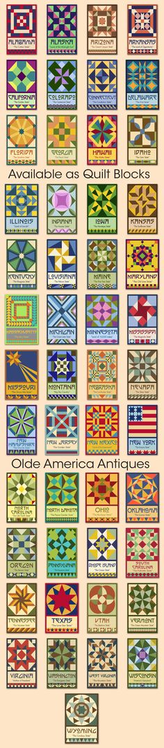 A series of original quilt block designs for all 50 states. Available for purchase at oldeamericaantiques.com