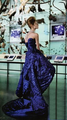 Olga Sherer in Versace at the Museum of Natural History | Photo by Carter Smith | Elle US May 2010
