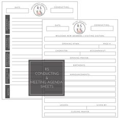 Relief Society Presidency Kit: Binder Cover Printable Set. Presidency Meeting Agenda, RS Conducting Sheet Printable. LDS Printables. Relief Society Printables.