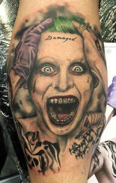 Jarred Leto Joker colour portrait tattoo                              …