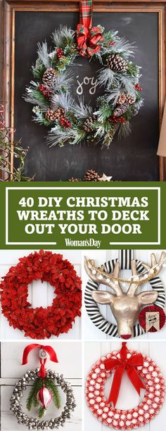 Save these DIY Christmas Wreaths for later by pinning this image and follow Woman's Day on Pinterest for more.