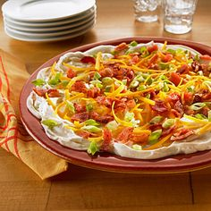 PRINTED Bacon Ranch Layered Spread is an easy and delicious appetizer dip for your next party! Appetizer Dips, Yummy Appetizers, Appetizers For Party, Appetizer Recipes, Snack Recipes, Snacks, Bacon Ranch Dip, Great Recipes, Favorite Recipes