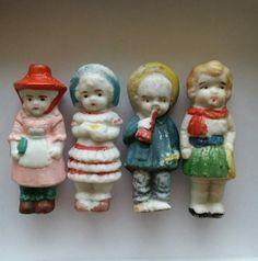 "Antique Bisque Porcelain Doll Toy Miniature Kewpie VTG Japan Painted 1.75/"" Girl"