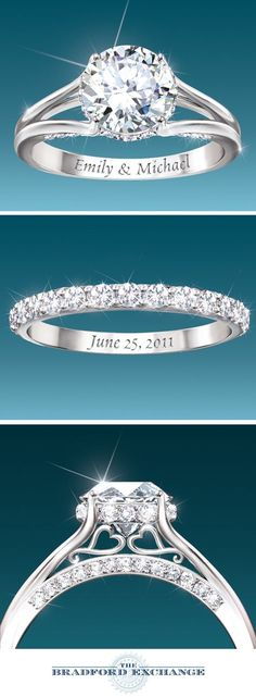 Platinum-plated sterling silver engagement ring and wedding band with over 4 carats of Diamonesk® stones, engraved names, wedding date, gift box.