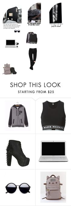 """""""#PVxPusheen (Back To School For The Rebel)"""" by smil-ly ❤ liked on Polyvore featuring Pusheen, Nasir Mazhar, Jeffrey Campbell and Toshiba"""