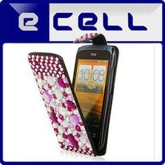 e_cell - Purple Rhinestones Design Protective Leather Bling Case Cover for HTC One S