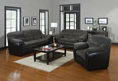 Acme 2 PC Connell Dark Grey Corduroy and Espresso Bycast Sofa Set