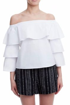 We are obsessed with the Sasha Ruffle Sleeve Off Shoulder Top! Made of crisp white cotton this chic top has all the features of tops five times as expensive--off shoulder-detailing tiered ruffle sleeves and the perfect figure-flattering shape. Pair it with literally anything in your closet from skinny jeans to wide legs cutoffs to skirts. Sasha Ruffle Top by Lush. Clothing - Tops - Off The Shoulder Florida