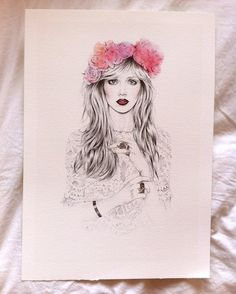 White Lace, A3 giclée Print, from original pencil and watercolour illustration