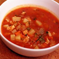 Spicy Manhattan Clam Chowder. Love this recipe. I always add a 1 lb 10 oz jar of Prego Traditional spaghetti sauce. It is Perfect!