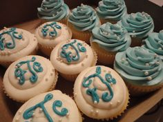 Monogram Bridal Shower Cupcakes