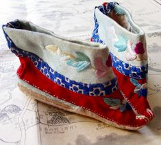 Antique Chinese Silk Shoes - Hand Embroidered for Baby Girl