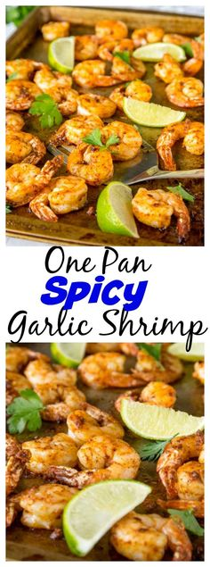 One Pan Spicy Garlic Shrimp - dinner is ready in 15 minutes, with this super flavorful, a little spicy, garlic shrimp recipe!