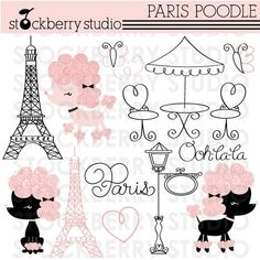 Paris Poodle Personal and Commerical Use Clipart Set - Instant Download