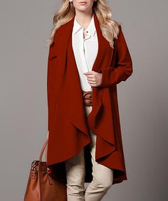 Another great find on #zulily! Cinnamon Drape Coat #zulilyfinds