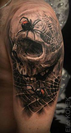 Done by Eliot Kohek - Partner-tattoos - Tatuagem Tattoos 3d, Tattoo Henna, Badass Tattoos, Arm Tattoo, Body Art Tattoos, Tattoos For Guys, Cool Tattoos, Evil Skull Tattoo, Skull Sleeve Tattoos