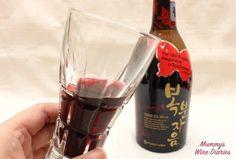 bokbunja red wine in glass