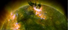 A satellite view of the solar storm that erupted on the sun June 7.