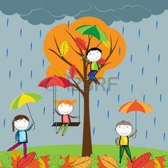 hojas de otoño: Felices los niños jugando en las hojas de otoño Vectores