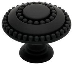 "(5) PBF808Y-FB  Flat Black 1 3/8"" Double Beaded Cabinet Drawer Knob #Liberty"